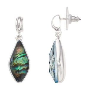 Silver tone Abalone Drop Post Ear fashion earrings